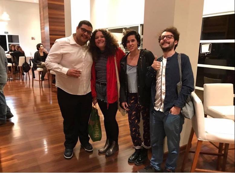 A ACA FILMS 14a Alex Alonso Tecnica de Som Carolina Brandão e a atriz Marcella Amália